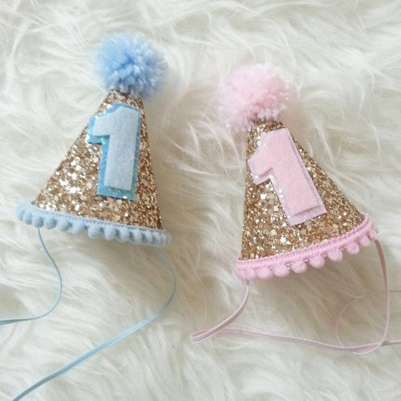 Glittery Mini Party Hats twin birthday pink or by Kutiebowtuties