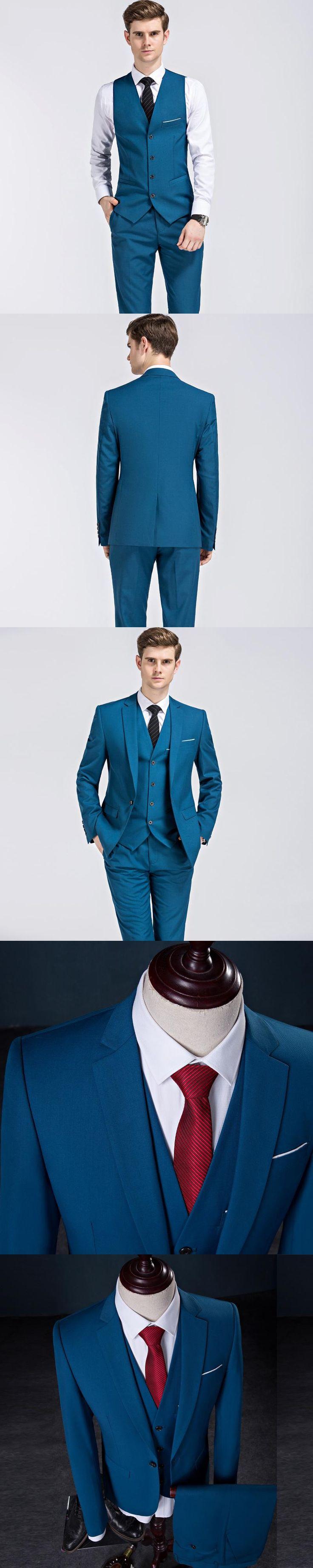 2017 Top Brand Mens Suits Wedding Groom 3 Pieces(Jacket+Vest+Pant) Slim Fit Tuxedo Suit Formal Dress Suit Set Plus Size 5XL