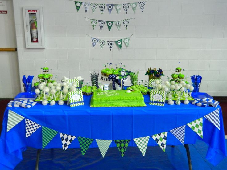 Golf themed 75th birthday party dessert table party for 75th birthday party decoration ideas