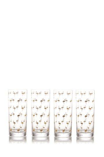 Gold Flamingo 18.5 oz. Highball Glass - Set of 4 by Prima Design on @nordstrom_rack