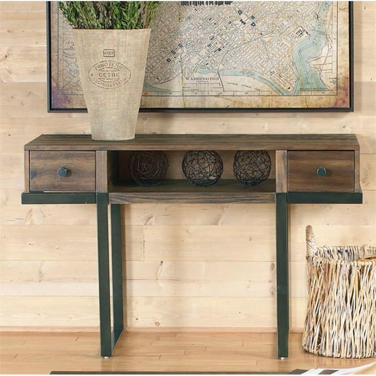 Paxton Bronze Wire Brushed Metal And Wood Sofa Table Weekends Only Furniture  And Mattress