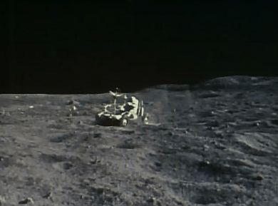 NASA's Apollo 16 (April 21, 1972) ~ Astronauts John Young and Charlie Duke go on the first moonwalk of the Apollo 16 mission. [GIF]