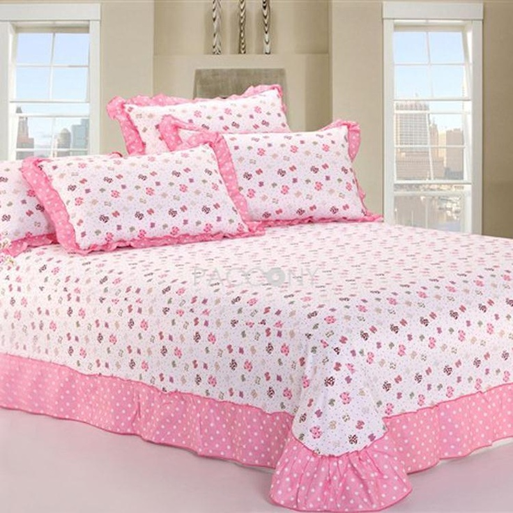 lovely bowknot cotton 4piece queen size duvet covers with laciness on http