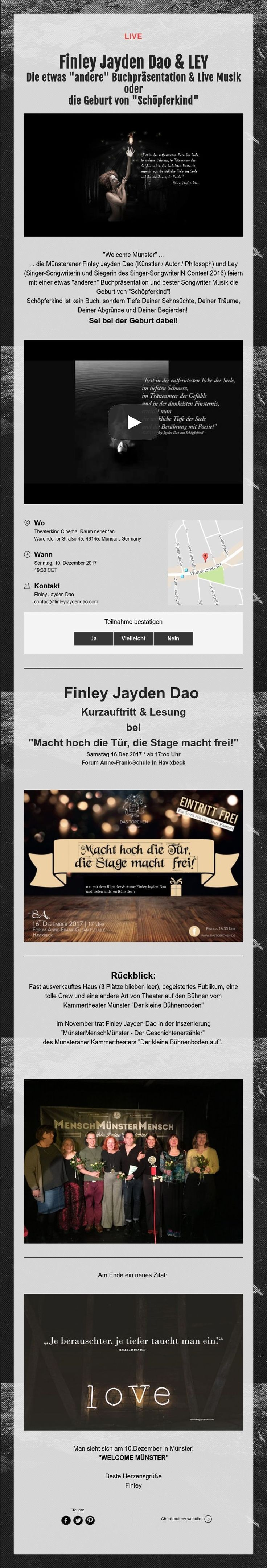 Live! Finley Jayden Dao and Ley #bücher #event #musik #zitate #theater #kunst #kultur
