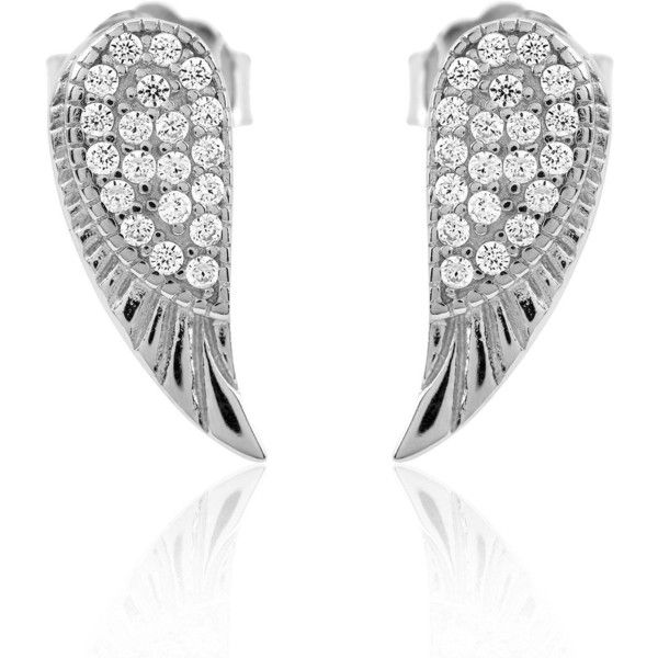 Angel wing studs (£27) ❤ liked on Polyvore featuring jewelry, earrings, angel wing stud earrings, angel wing earrings, glitter stud earrings, studded jewelry and glitter earrings