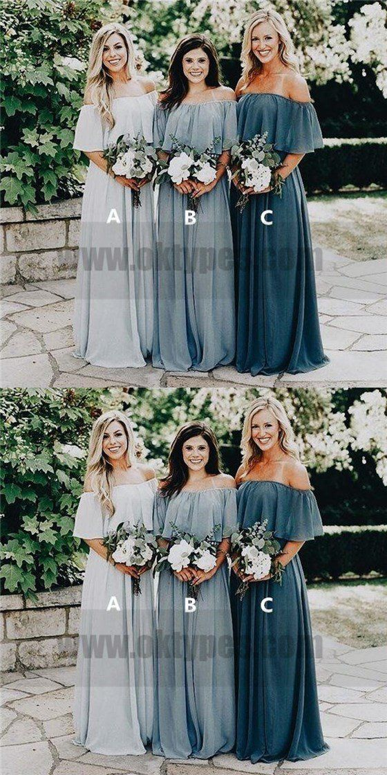 Cheap Off Shoulder Chiffon Custom Long Bridesmaid Dresses ccd562d69728