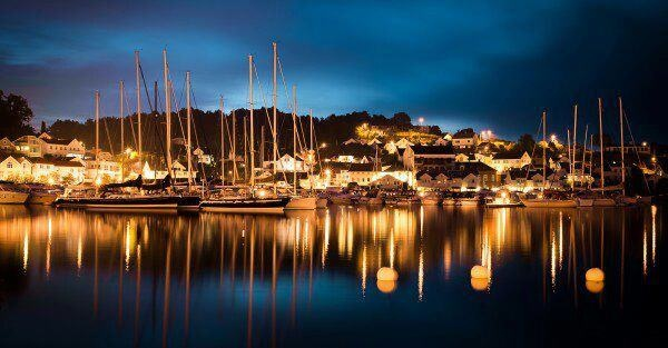 Grimstad harbour at night