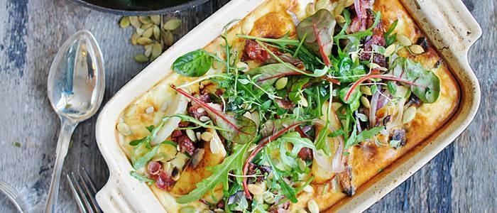 Ugnspannkaka med jordärtskocka, smörfrast äpple och sidfläsk - recept från Lantmannen.se