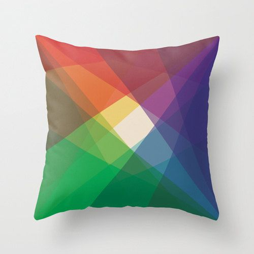"16""x16"" Colorful Geometric Throw Pillow COVER ONLY. $20.00, via Etsy."