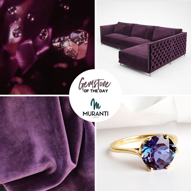 The Gemstone of the day is ALEXANDRITE With a Intense, Charismatic and Imaginative color Alexandrite sofa is synonymous of class! (www.muranti.com) #gemstoneoftheday #muranti #luxury #furniture #uphostery #gemstone #color #alexandrite #coloroftheday #chaisesofa #inspiration #interiordesign #homedecor #design #interiorismo #interieur #интерьер #plumwine #colortrends #trends #pantone
