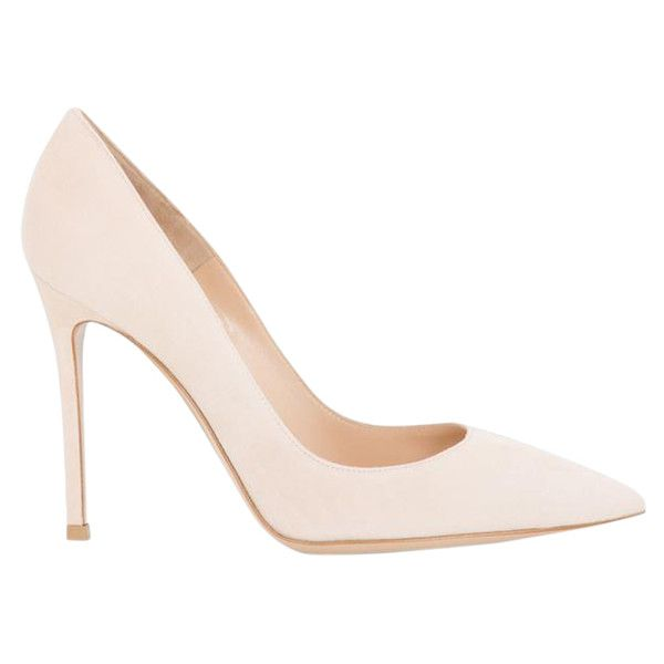 Gianvito Rossi Nude Pump ($660) ❤ liked on Polyvore featuring shoes, pumps, heels, neutrals, genuine leather shoes, heels & pumps, gianvito rossi pumps, leather shoes and pointed-toe pumps