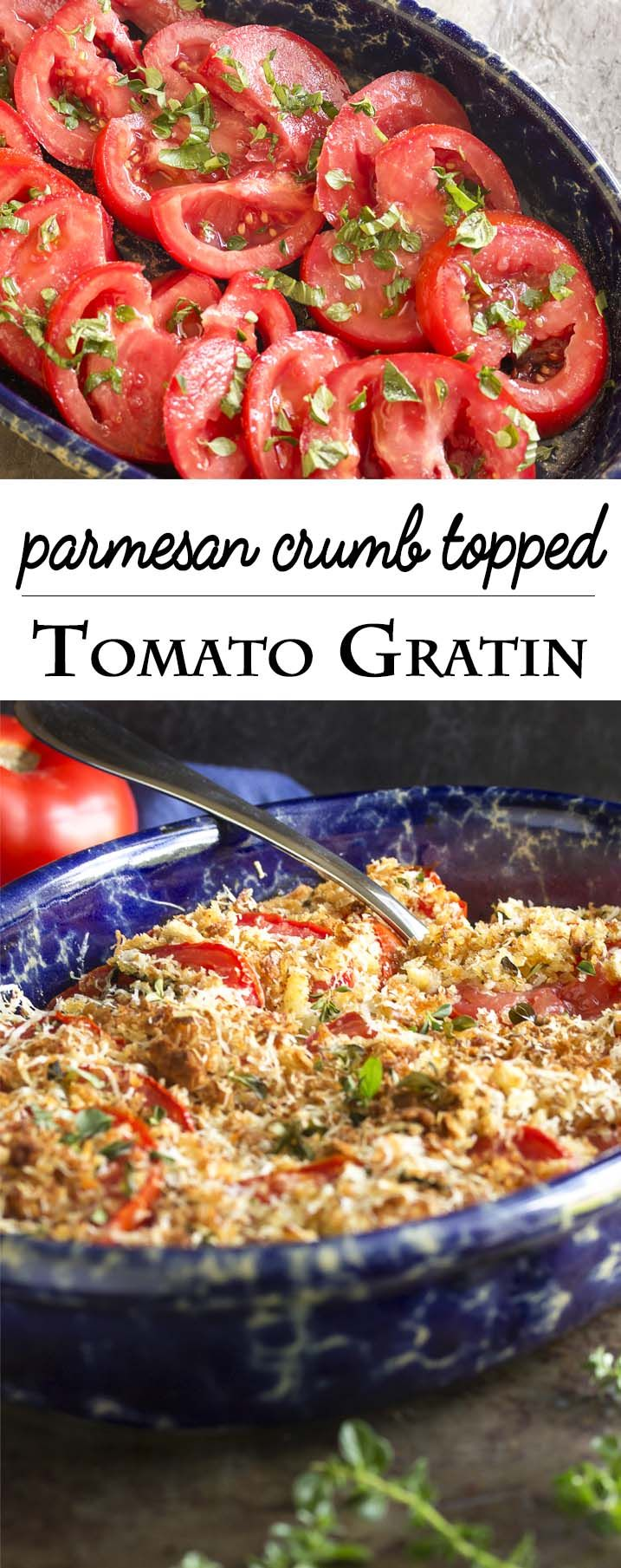 Baked Sliced Tomato Gratin - Fresh, summer tomatoes are best cooked simply like in this tomato gratin of sliced tomatoes layered with olive oil and herbs and then topped with parmesan breadcrumbs.   justalittlebitofbacon.com