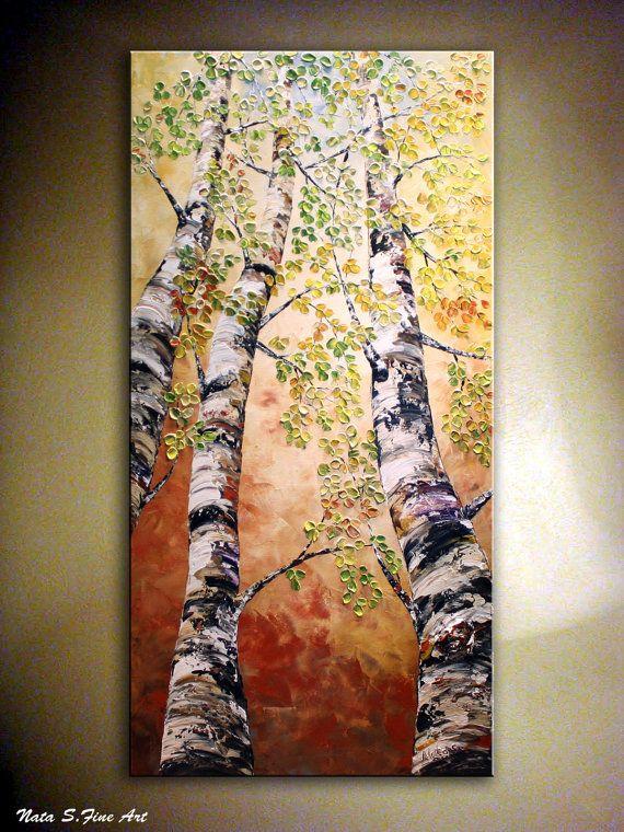 """Kunst Malerei. Original Modern Birke Baum Malerei Spachtel Impasto Heavy texturierte Birkenbaum Gemälde 48"""" von Nata S... KUNDENSPEZIFISCH KONFEKTIONIERT"""