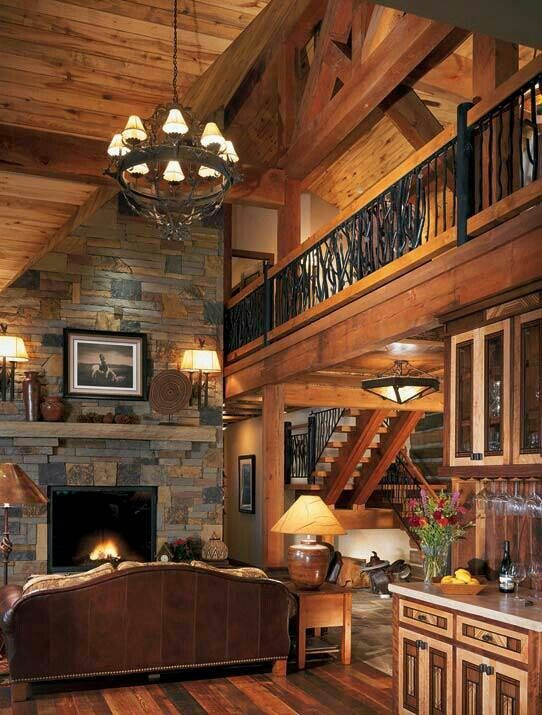 Rustic great room love the stone and wood combo for Dream wooden house