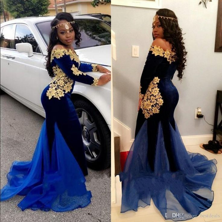 2017 New African Long Sleeves 2k17 Prom Dresses Elegant Boat Neckline Floor Length Mermaid Royal Blue Velvet Evening Gowns With Gold Lace White Prom Dresses Under 100 Asian Prom Dresses From Bestdeals, $149.24| Dhgate.Com