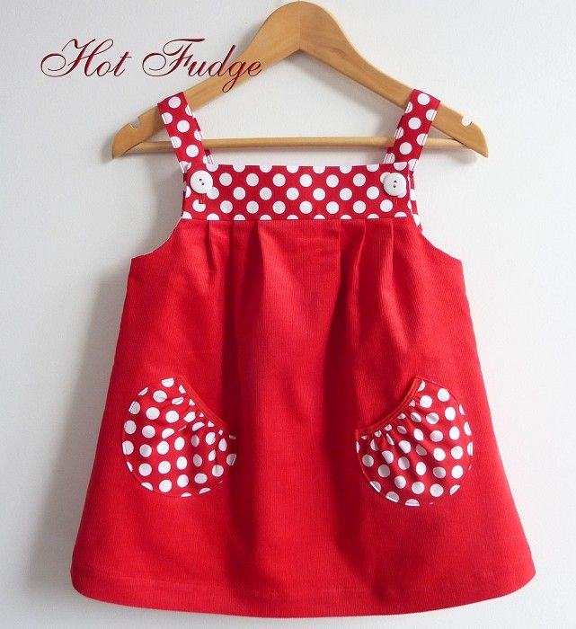 Jumper Dress, Red Pinwale Velvet, Sizes 6 months, 1, 2, 3 - this design would be cute with Minnie and mickey on the pockets or chicks or bunnies or sailboats, etc for pockets
