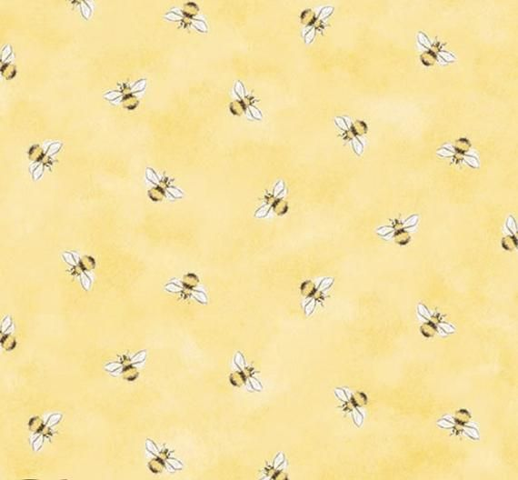 Cute Honey Bees On Soft Yellow Cotton Fabric By The Yard Diy Etsy Iphone Wallpaper Yellow Yellow Aesthetic Pastel Yellow Wallpaper