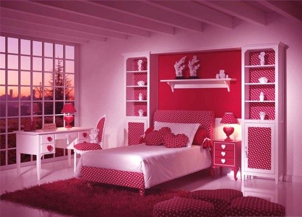 Monochromatic Pink Girls Bedroom With Framed Glass Wall Also Beam Ceiling Design