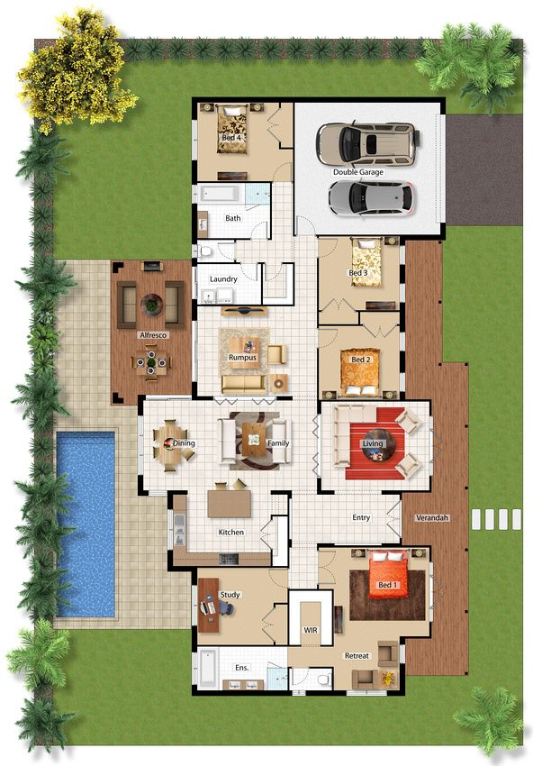 Jamberoo Study Floor Plan Option - i just would move all the bedrooms around e.g. rumpus and study connecting walls to garage and bedrooms fill in the gaps :)