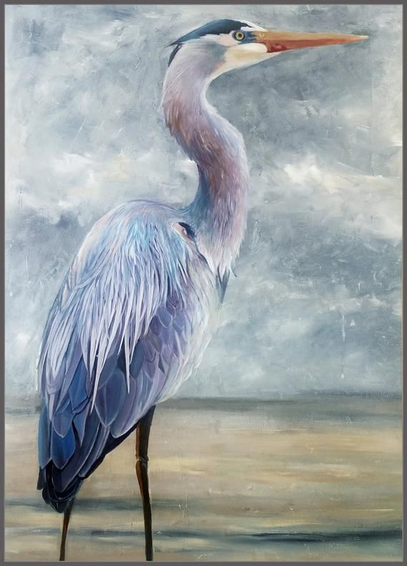 Great Blue Heron 1 Original Contemporary Acrylic Painting With
