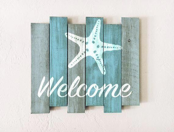 Beach Decor Welcome Sign Nautical Wooden Distressed By Seastyle Beachsigns In 2020 Beach Signs Wooden Beach Wood Signs Beach Cottage Decor