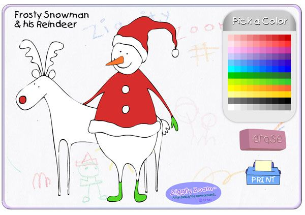 Frosty Snowman Reindeer Online Coloring Page For Kids Christmas Pages