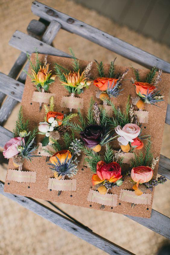 mixed wedding boutonnieres / http://www.deerpearlflowers.com/orange-wedding-color-ideas/