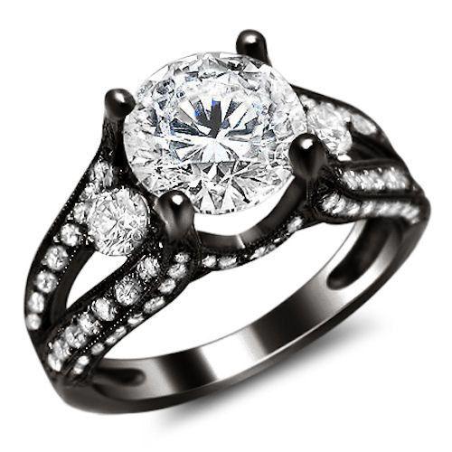 2.35CT ROUND SPLIT SHANK DIAMOND ENGAGEMENT RING 18K BLACK GOLD in Jewelry & Watches, Engagement & Wedding, Engagement Rings | eBay