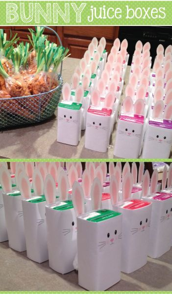 Use this free template and instruction to transform a plain old juice box into an adorable bunny.  A great snack or party idea for Easter and spring.  Fun snack idea for toddlers, preschool, pre-k, kindergarten, early childhood education.