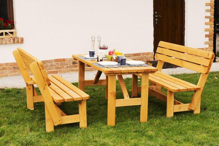 Zestaw mebli ogrodowych Monia, stół i 2 ławki cena: 699 zł