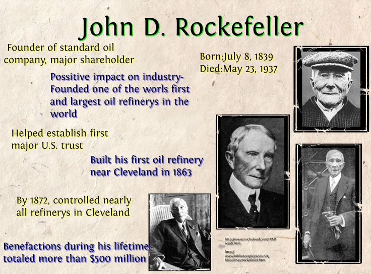 the role that john d rockefeller played in american history History's new event series the men who built america jp morgan played solitaire while attempting to quell the john d rockefeller got his start in.