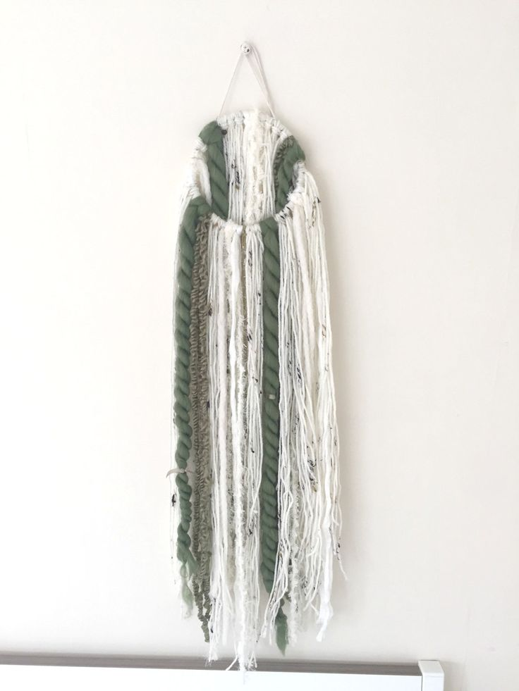Green and Cream mixed yarn Wall Hanging by ShelleysHandcrafted on Etsy