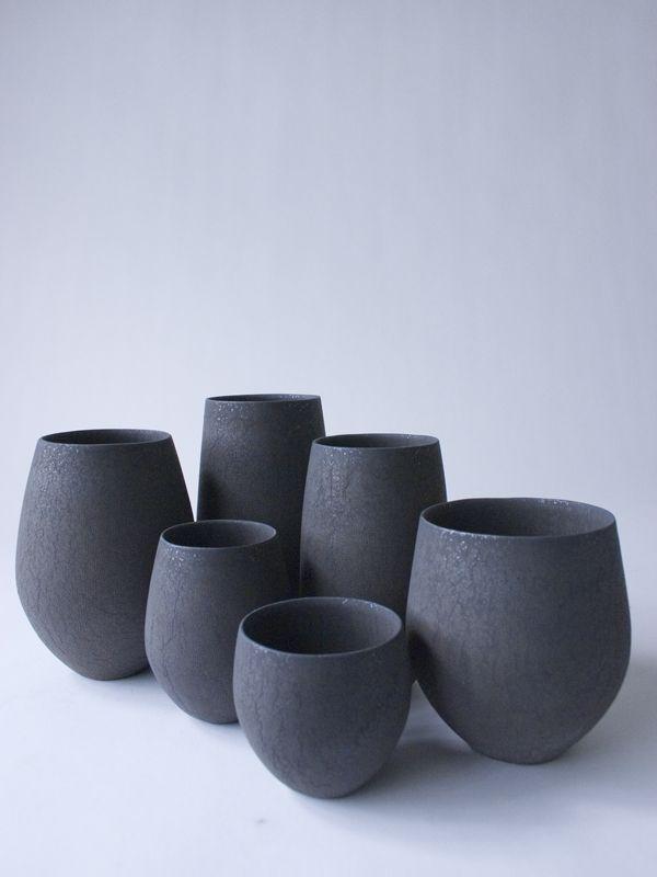 Handmade pottery in matte black.