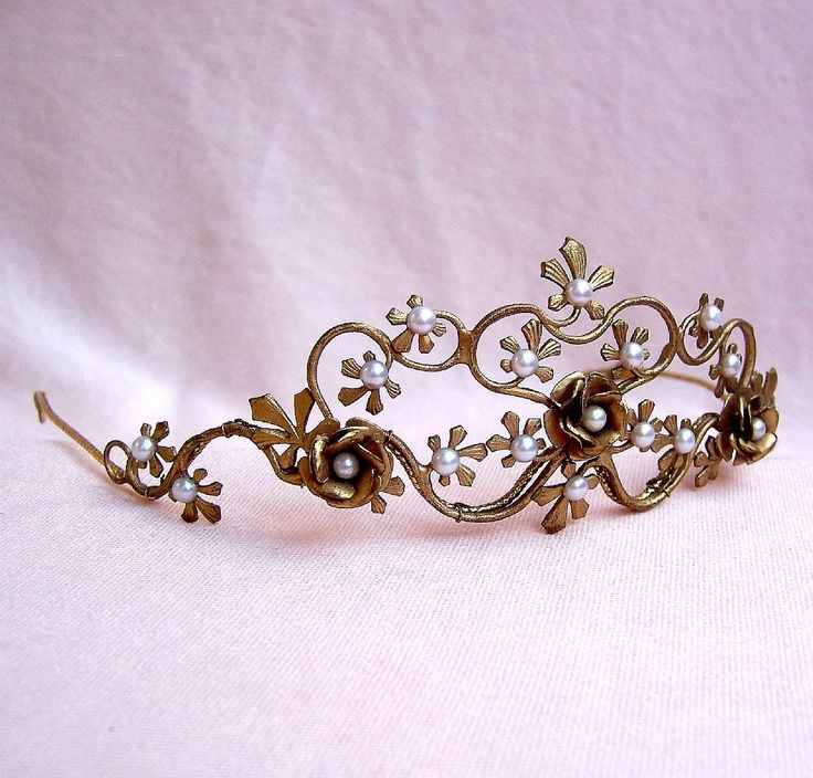 Vintage tiara handmade gold tone faux pearl floral designer bridal wedding hair accessory with provenance