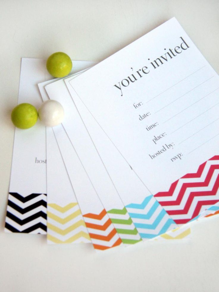 Are you set on a particular color scheme for your party? Kim Stoegbauer of The TomKat Studio created a simple chevron-patterned invitation in a variety of vibrant hues, including yellow, orange, turquoise and pink. You can even promote a sophisticated black-and-white cocktail party by sending out the invite patterned in black.