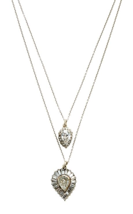 """18K White Gold Antique Diamond Teardrop And Diamond-Rimmed """"Shake"""" Necklace by Renee Lewis for Preorder on Moda Operandi"""