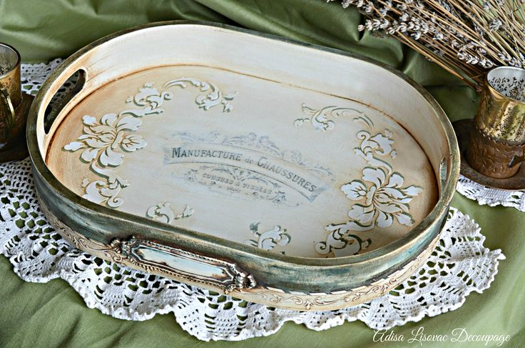 vintage serving tray shabby chic home decor handmade by Adisa Lisovac Decoupage