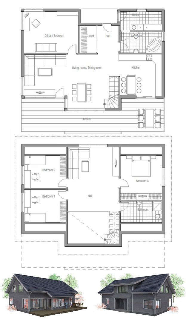 Small House Plan With Raised Ceiling In The Living Room
