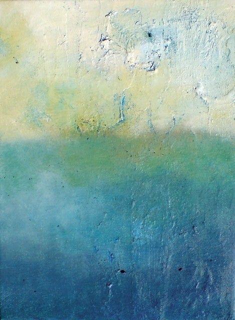 Arctic sea Original Abstract Painting Textured 9x7 by Natureandart, $100.00