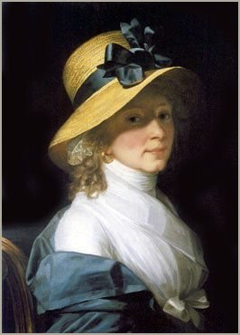 """""""The portrait of Elisabeth Hudtwalcker, born Moller, also known as """"Die Schöne Hamburgerin – The Beatiful Lady Of Hamburg"""", was painted in 1798 in Hamburg by Jean Laurent Mosnier (1743-1808). The original is in the collection of Hamburger Kunsthalle, Hamburg, Germany."""" Beautiful hat!"""