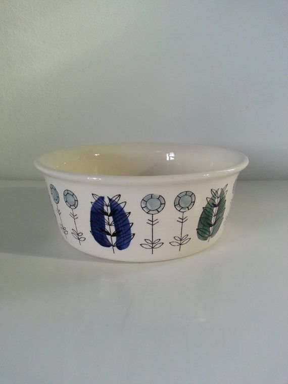 Mid Century Modern Vintage Egersund Norway Aqua and Blue Motifs Bowl.. Pottery bowl, Norway Norwegian, Serving Tableware 1960s