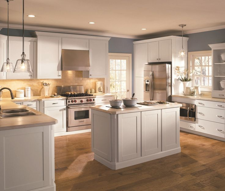 Kitchen Inspiring With Country Cabinets And Small Island Monochromatic Theme Collection Of