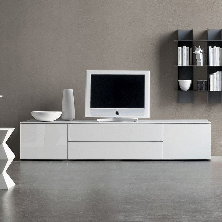meuble télé moderne blanc laqué en armoire basse avec portes sans poignées
