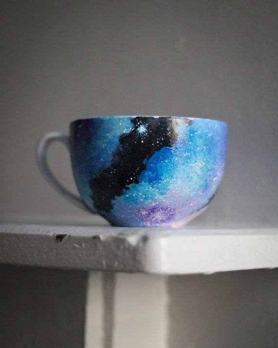Hand Painted Galaxy Mug: Galaxy Cappuccino Mug, Coffee Cup, Soup Bowl