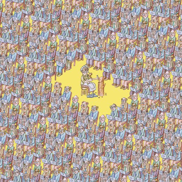 """BORDERLINE N°46: MASTRO GEPPETTO PEPPE CERILLO Xerografia su tela, cm 150x150, 2013  In molti individui appare già come una sfrontatezza che abbiano il coraggio di pronunciare la parola """"io"""". Dire noi ed intendere io è una delle offese più raffinate. L'amore è la capacità di avvertire il simile nel dissimile. Theodor Adorno, Minima moralia, 1951"""
