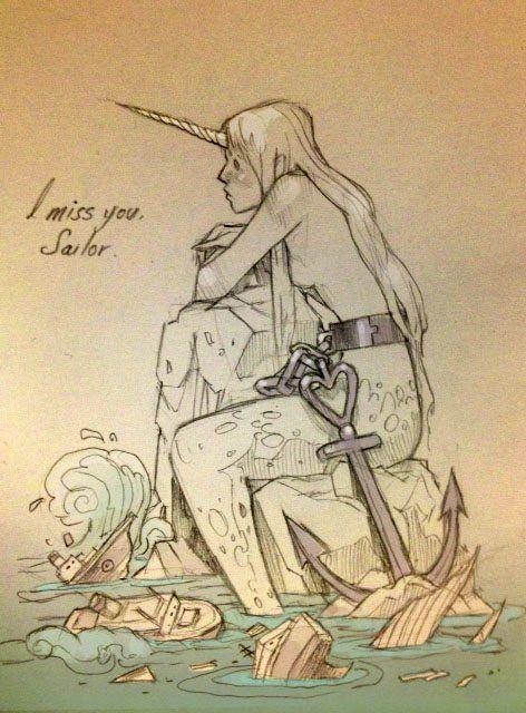 Les tags les plus populaires pour cette image incluent : Chiara Bautista, i miss you, ilustracion et mermaid