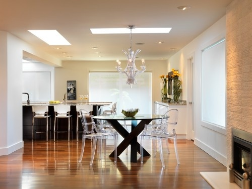 Love the lucite: Dining Photos, Design Ideas, Decorating Ideas, Dining Table Chairs, Chair Design, Photos Ghost, Kitchens Designs, Contemporary Dining Rooms, Ghost Chairs