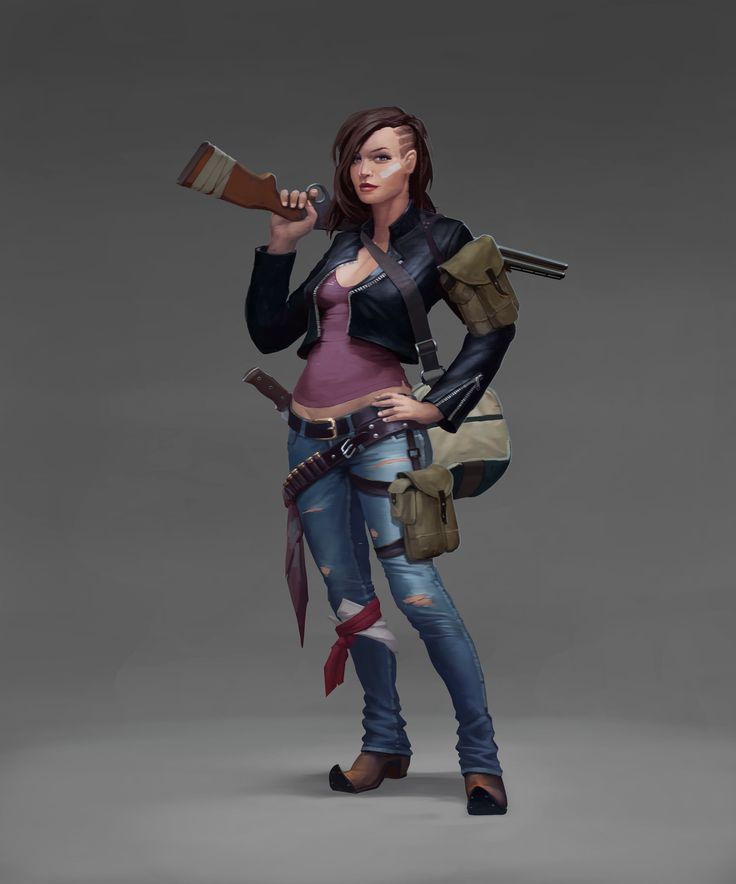 Girl Rm by genek female postapocalypse fighter ranger cowboy cowgirl armor clothes clothing fashion player character npc   Create your own roleplaying game material w/ RPG Bard: www.rpgbard.com   Writing inspiration for Dungeons and Dragons DND D&D Pathfinder PFRPG Warhammer 40k Star Wars Shadowrun Call of Cthulhu Lord of the Rings LoTR + d20 fantasy science fiction scifi horror design   Not Trusty Sword art: click artwork for source