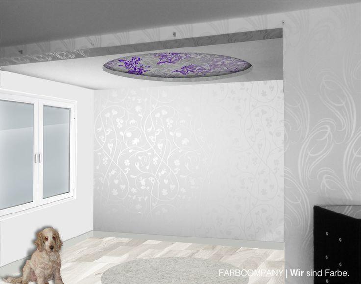 Gestaltung eines Wohnzimmers mit effektvollen Tapeten Malerarbeiten