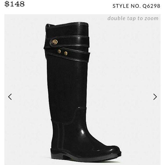 Coach Talia Rain Boot Size 9 NEVER WORN! Threw away box and receipt though :( Coach Shoes Winter & Rain Boots